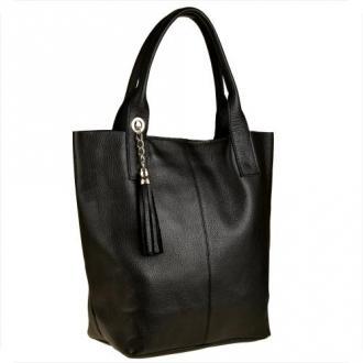 Czarna torebka damska shopper skórzana xl - Zdjęcie 1