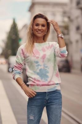 Cienki sweter damski tie dye różowy 321910 - Zdjęcie 1