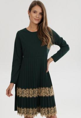Zielona Sukienka Dzianinowa Nicqinor - Zdjęcie 1