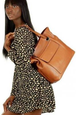 JULIA MARCO MAZZINI Włoska torebka skórzana worek sacco glamour camel - Zdjęcie 1