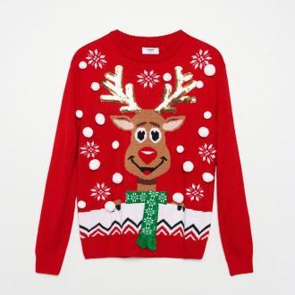 Cropp - Sweter ze świąteczną aplikacją - Czerwony - Zdjęcie 1