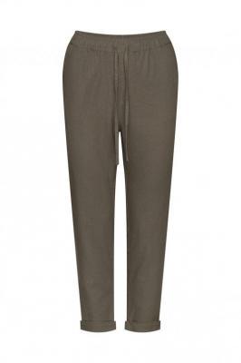 Lniane spodnie z troczkiem - Zdjęcie 1