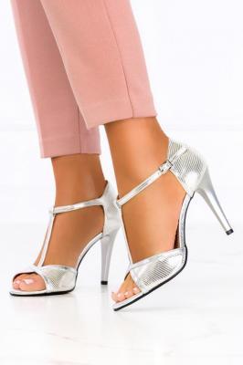 Srebrne sandały szpilki błyszczące t-bar polska skóra Casu 2493 - Zdjęcie 1